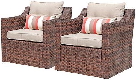SUNSITT Patio Outdoor Furniture 2-Piece Brown Wicker Single Club Chairs w Beige Olefin Cushions Striped Throw Pillow