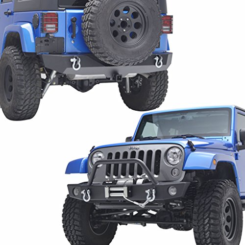 EAG 07-18 Jeep Wrangler JK Rock Crawler Front Bumper with Winch Plate and Rear Bumper with 2'' Hitch Receiver Combo - 2' Front Receiver Hitch