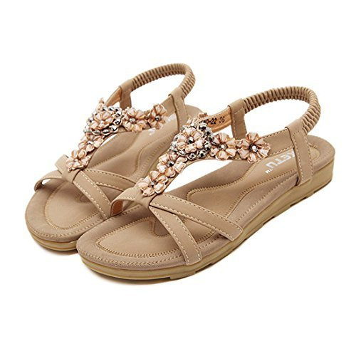 SHIBEVER Summer Flat Gladiator Sandals for Women Comfortable Casual Beach Shoes Platform Bohemian Beaded Flip Flops Sandals Apricot-2 8