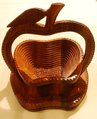 Wooden Compartment Folding Basket - Collapsible Fruit Stores Flat (10 Inch, Apple Shape)
