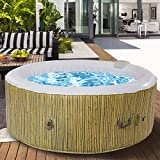 GYMAX Outdoor Spa, 6 Person Portable Inflatable Hot Tub with Accessories Set for Relaxation Hydrotherapy (Beige)