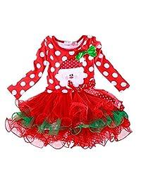 Myosotis510 Girls Christmas Santa Elk Polka Dot Tutu Dress with Bow