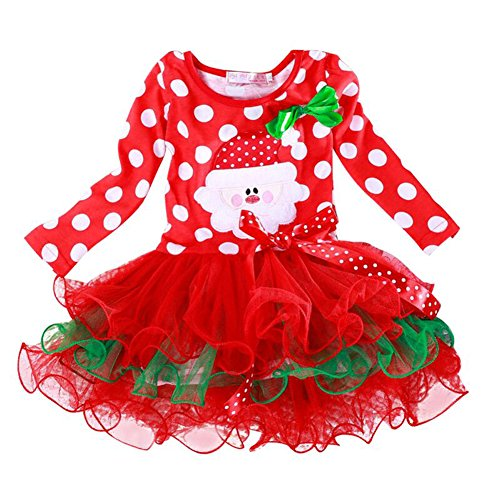 Myosotis510 Girls Christmas Santa Elk Polka Dot Tutu Dress with Bow