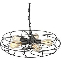 Best Choice Products Industrial Vintage Metal Hanging Ceiling Chandelier Lighting w/ 5 Lights -Black