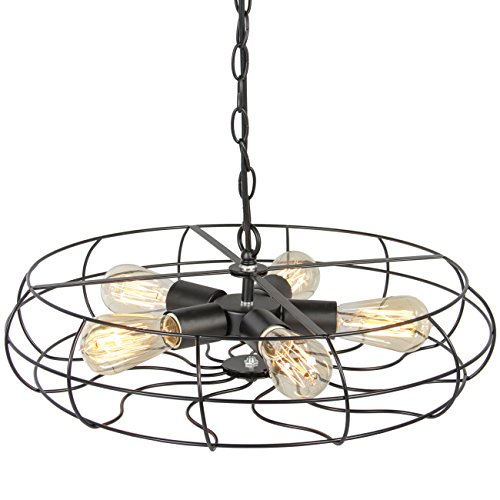 (Best Choice Products Industrial Vintage Lighting Ceiling Chandelier 5 Lights Metal Hanging Fixture)