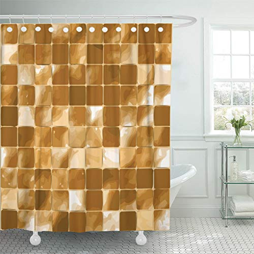 "Semtomn 72""x78"" Shower Curtain Tan Mosaic Tiles Brown Glass White Abstract Architecture Bath Waterproof Bath Bathroom Home Decor Polyester Fabric Set with Hooks"