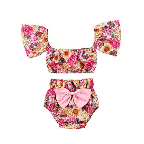 (KIDSA 0-24M Baby Girl Summer Clothes Off Shoulder Short Sleeve Vintage Floral Tube Tops + Short Pants 2Pcs Outfits Set)