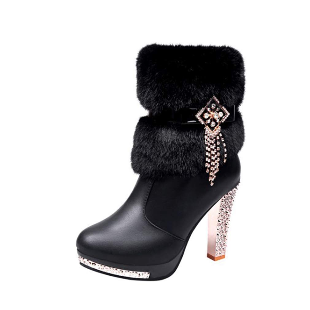 YAN Damenmode Schuhe Herbst Winter Warme Damen Stiefel Dickem Boden Runde Kopf High Heel Strass Quaste Plüsch Ritter Stiefel