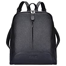 """S-ZONE Women's Genuine Leather Backpack Purse Travel Bag Fit 14"""" Laptop"""