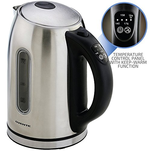 OVENTE Electric Kettle, 1.7L, Cordless, 1100W, BPA-Free, 5 Preset Settings, Auto Shut-Off & Boil-Dry Protection, Silver (KS89S)