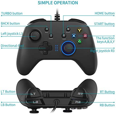 Wired Gaming Controller, Joystick Gamepad with Dual-Vibration PC Game Controller Compatible with PS3, Switch, Windows 10/8/7 PC, Laptop, TV Box, Android Mobile Phones, 6.5 feet USB Cable