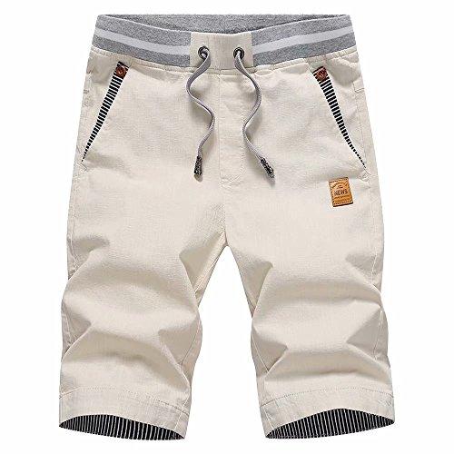 STICKON Men's Shorts Casual Classic Fit Drawstring Summer Beach Shorts with Elastic Waist and Pockets (Light Khaki, US 2XL=5XL)