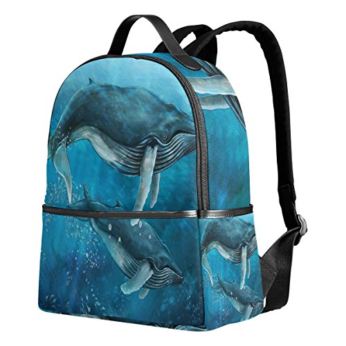 Use4 Underwater World Hipster Whale Fish Polyester Backpack School Travel Bag