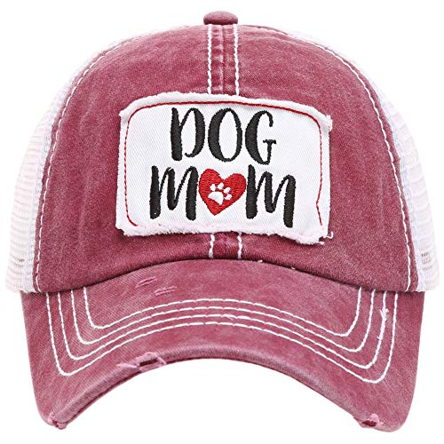MIRMARU Women's Baseball Caps Distressed Vintage Patch Washed Cotton Low Profile Embroidered Mesh Snapback Trucker Hat (Dog Mom, ()