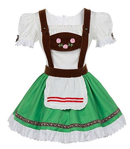 Sexy Beer Girl Costumes (BSLINGERIE Sexy Beer Girl Bavarian Bar Maid Halloween Costume Dress (US 14, Green))
