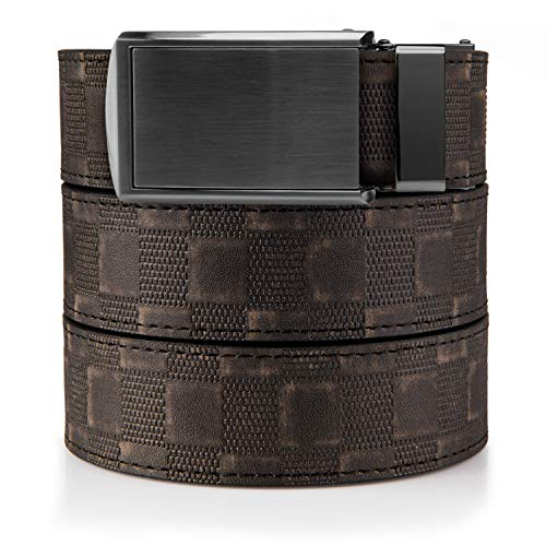 SlideBelts Men's Classic Belt - Custom Fit (Distressed Checkered Leather with Gunmetal Buckle (Vegan), One - Leather Classic Brown Distressed
