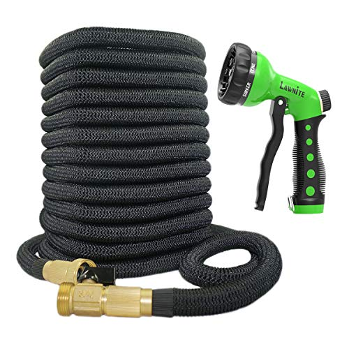 Lawnite 150ft Garden Upgraded Expandable Water Hose with Double Latex Core 3/4 Solid Brass Fittings Extra Strength Fabric