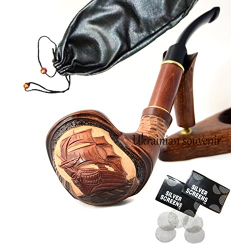 pear-wood-hand-carved-tobacco-smoking-pipe-ship-pouch