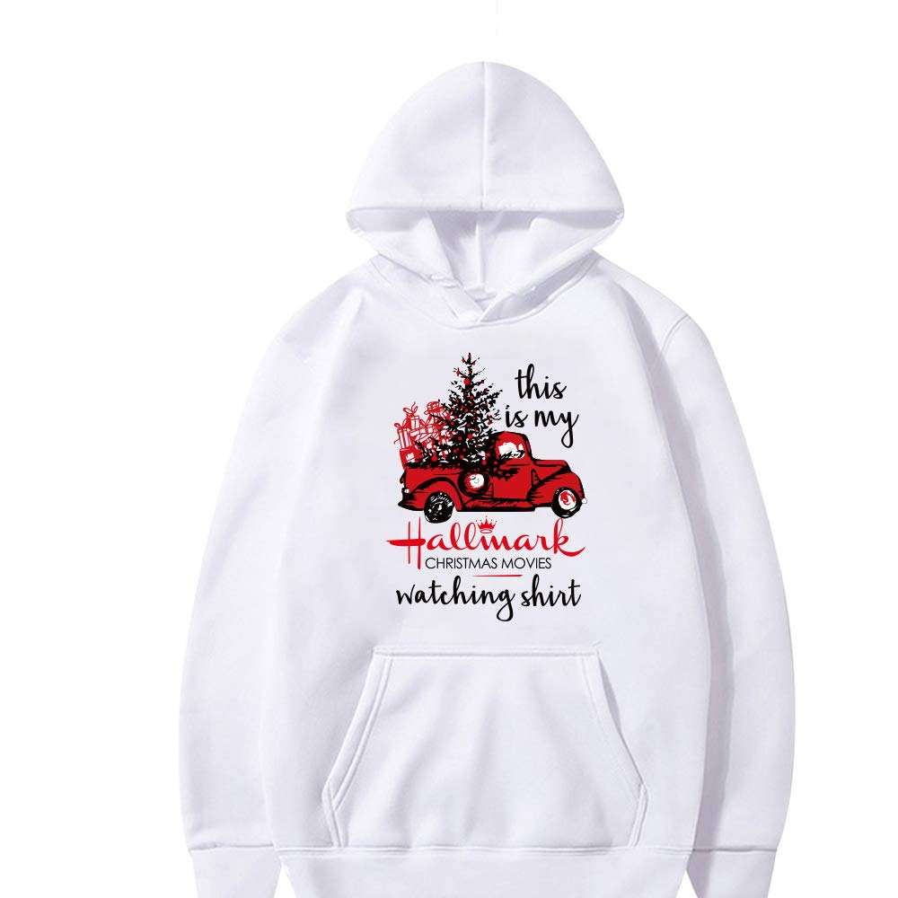 SShuangxu This is My Hallmark Christmas Movies Watching Shirt Sweatshirt Red Truck Tree Graphic Tees Blouse Pullover