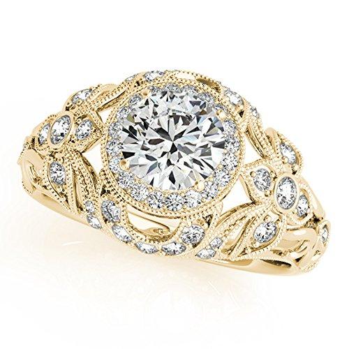 Forever Diamond 1.00Ct Round Cut 14K Yellow Gold Hallmarked Moissanite...