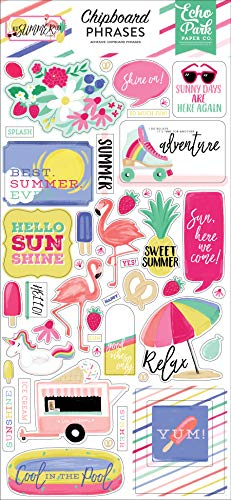 Echo Park Paper Company BS182022 Best Summer Ever 6x13 Phrases chipboard Pink, Teal, Yellow, Green, Purple ()
