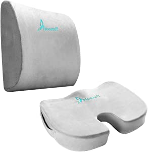 Hioozott Seat Cushion Coccyx Orthopedic Memory Foam and Lumbar Support Pillow for Office Chair and Car Seat - Ultimate Comfort Set Relieves Back Pain, Tail Bone Pain, Sciatica Cushion (Grey)