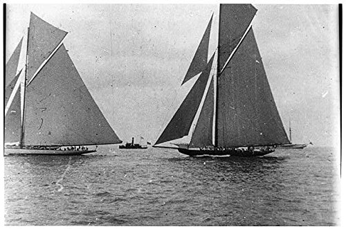 (HistoricalFindings Photo: Columbia,Shamrock II,American Cup Race,1901,America's Cup,Sailboats )