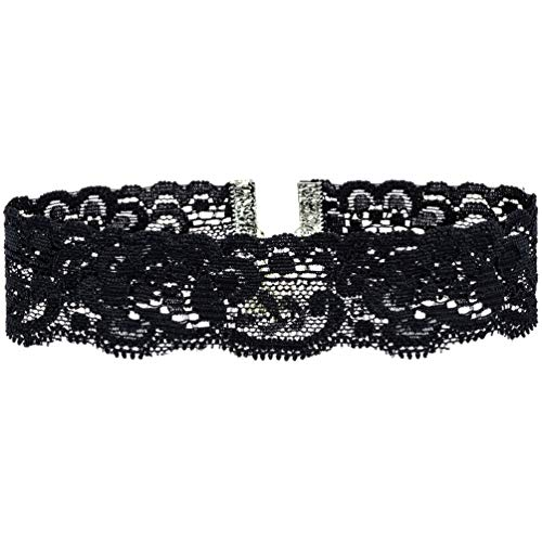 Twilight's Fancy Floral Elastic Stretch Lace Choker Necklace (Black, Small)