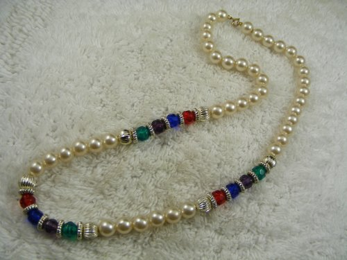 JAPANESE Faux Pearl & Faux Red Green Blue Purple Crystal Bead Necklace - from Hibiscus -