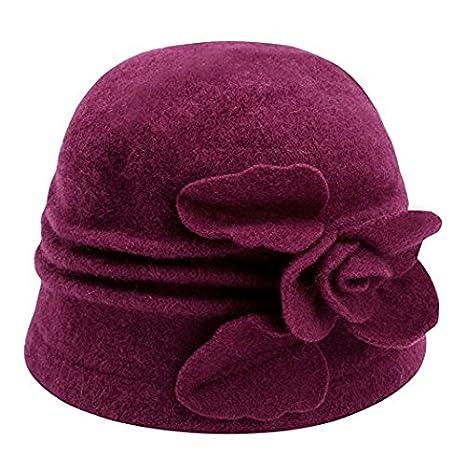 TTD Ladies Vintage Elegant Wool Cloche Hat With Frower Warm Winter Hat