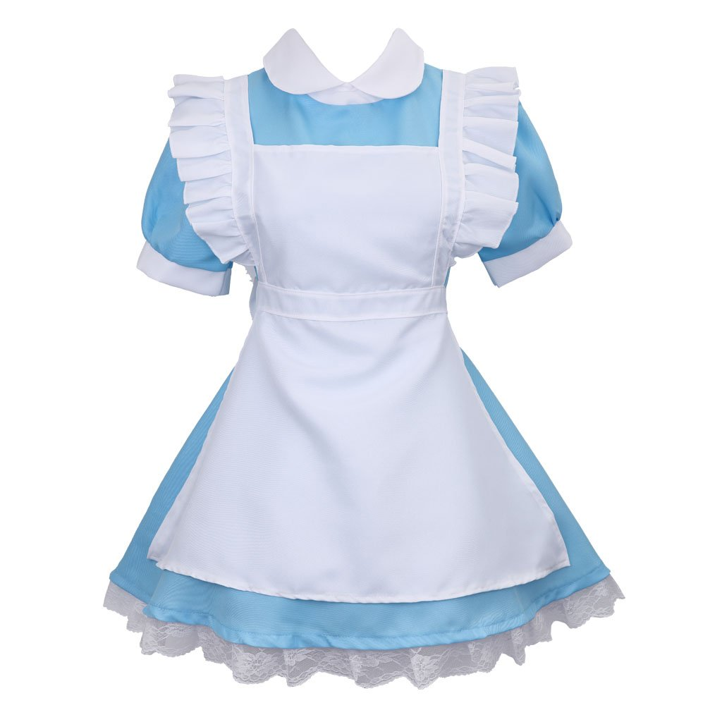 Colorful House Women's Cosplay Outfit Blue Dress Maid Fancy Dress Costume (Medium, Blue (with Petticoat))