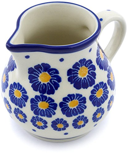 Polish Pottery 7 oz Pitcher made by Ceramika Artystyczna (Wreath Of Blue Theme) + Certificate of Authenticity
