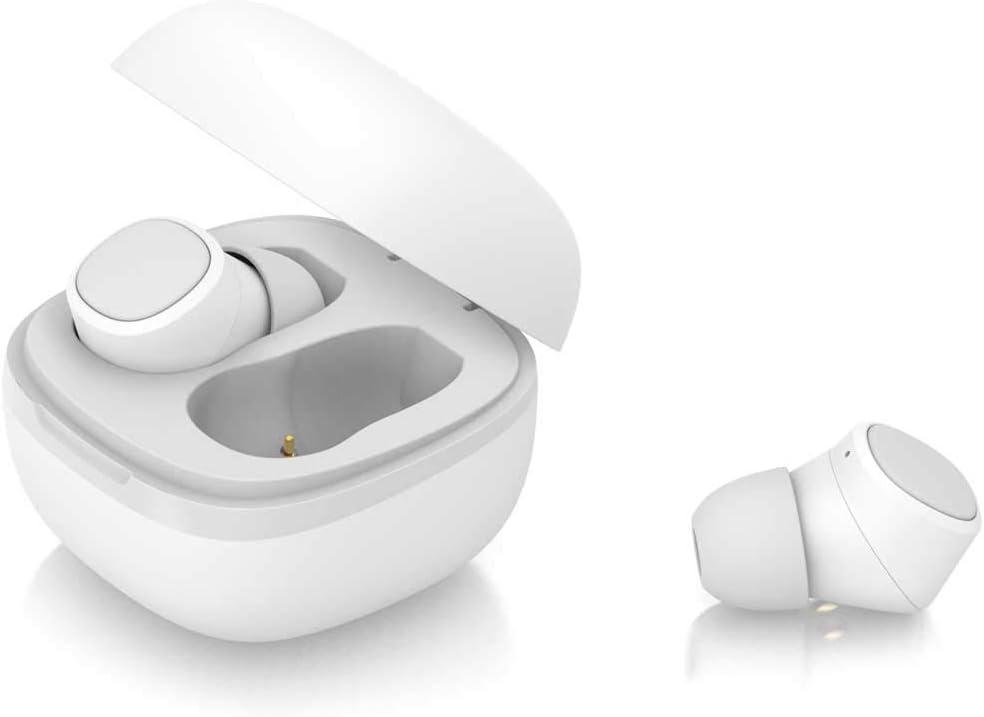 PRIXTON TWS156C - Auriculares Bluetooth 5.0 / Auriculares Inalambricos con 3 Adaptadores, Control por Botón, Asistente de Voz Integrado, Diseño Compacto, Color Blanco
