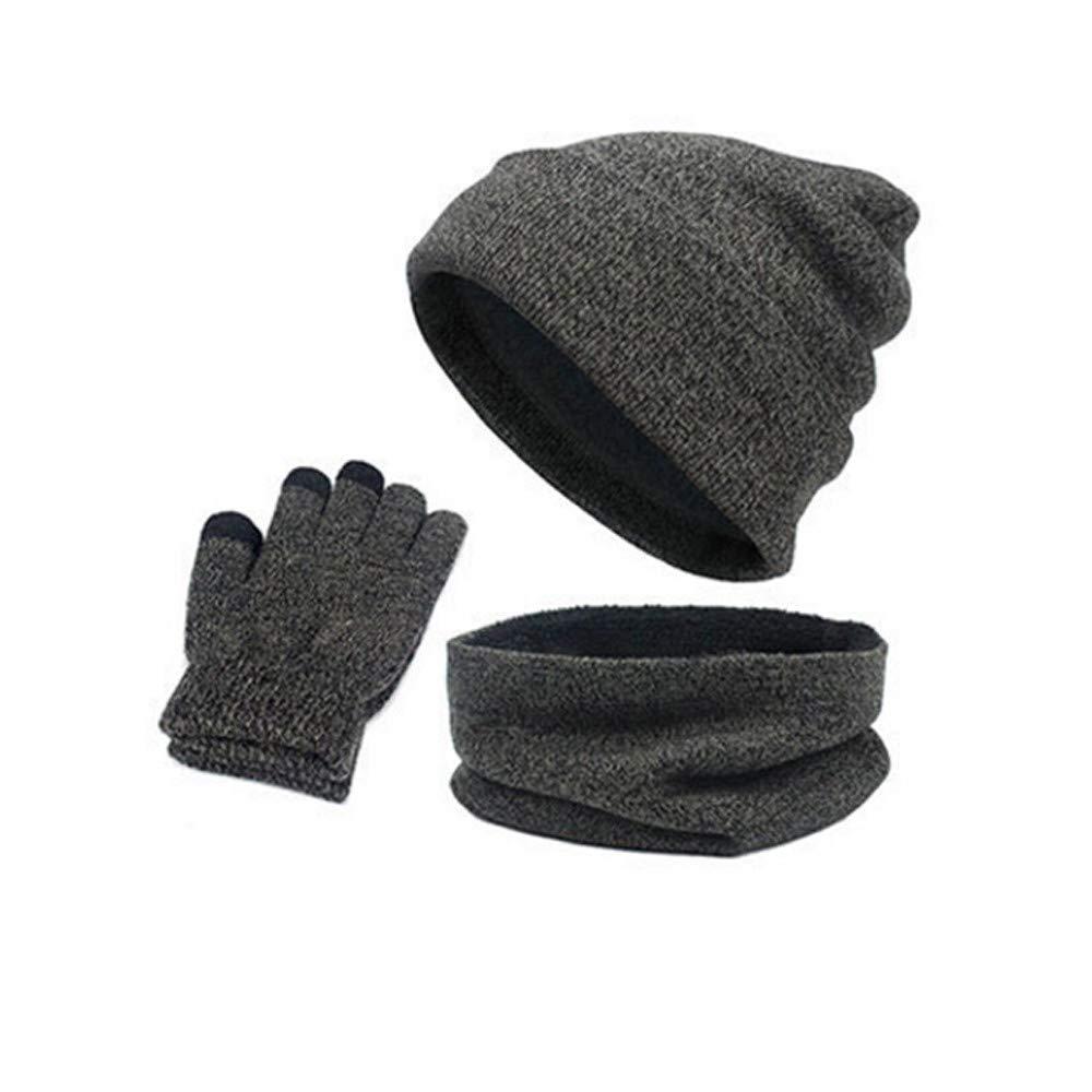 VRTUR Warm Wintermü tze Anzughut + Schal + Handschuhe Gestrickt Damen Herren Kombination Passen Unisex Strickmü tze VRTUR-567