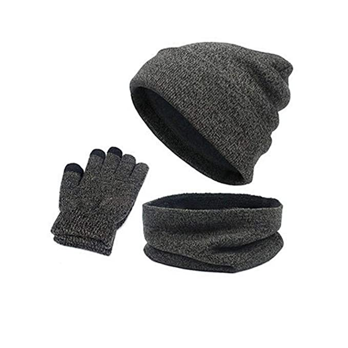 Wokasun.JJ Autumn Winter Heat Suit Hat + Scarf + Gloves Knitted Combination Suit