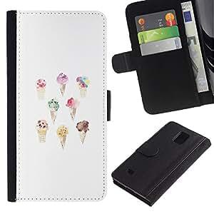 iKiki Tech / Cartera Funda Carcasa - Cream White Watercolor Cone Sweet Chef - Samsung Galaxy Note 4 SM-N910F SM-N910K SM-N910C SM-N910W8 SM-N910U SM-N910