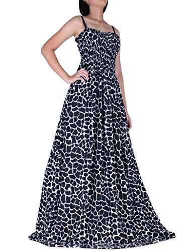 Women Plus Size Maxi Party Dress Summer Strapy Casual Cocktail Evening High Tea Wear Black White B&W - Plus Wedding Informal Size Dress