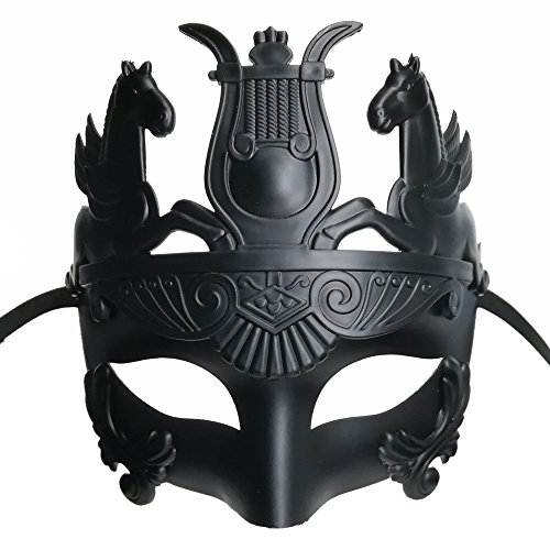 Black Masculine Greek & Roman Soldier Masquerade Mask for Men Venetian Mask -