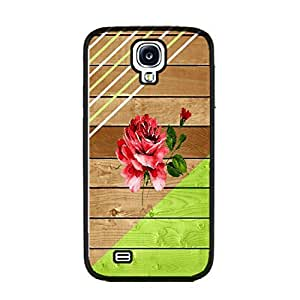 Cute Design Wood Pattern Print Hard Plastic Personalized Cell Phone Case Cover for Samsung Galaxy S4 I9500 (striped black ju5242)