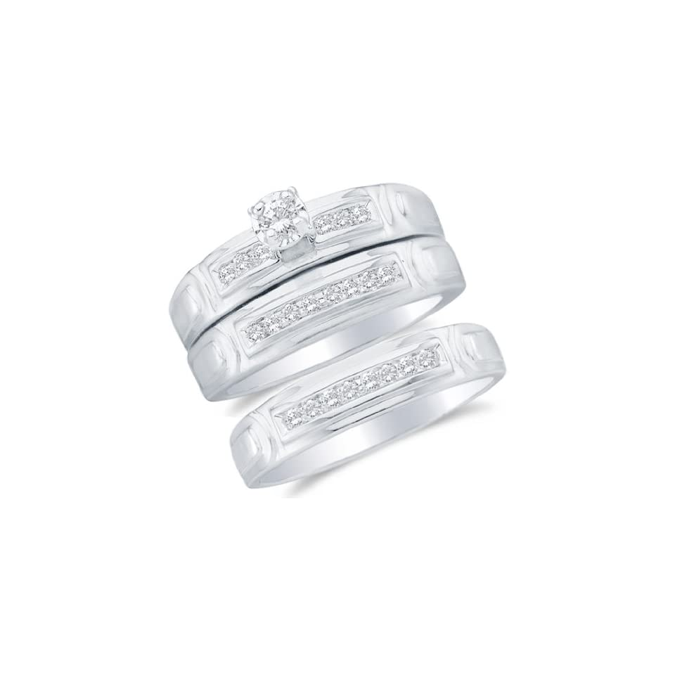 """10k White OR Yellow Gold Diamond Round Center Mens And Ladies Couple His & Hers Trio 3 Three Ring Bridal Matching Engagement Wedding Ring Band Set (1/4 cttw.)   SEE """"PRODUCT DESCRIPTION"""" TO CHOOSE BOTH SIZES Sonia Jewels Jewelry"""