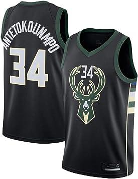OLIS NBA Bucks 34# Antetokounmpo Camiseta de Baloncesto para Hombres Nuevo Tela Bordada Camiseta Deportivas de Jersey Swingman: Amazon.es: Deportes y aire libre