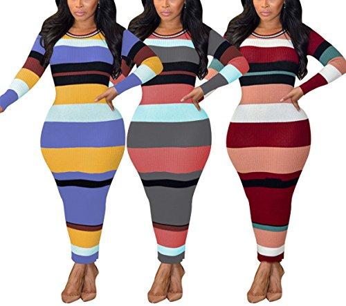 Antique Style Womens Fall Winter Long Sleeve Stripe Knitting Basic Ribbed Long Dress Clubwear