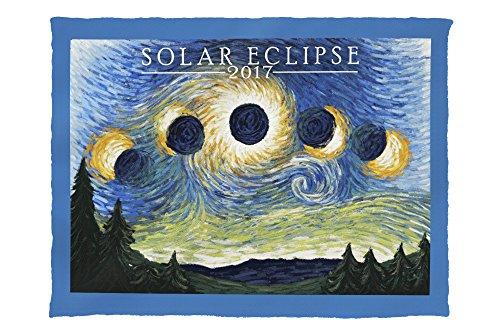 Solar Eclipse 2017 - Starry Night (60x80 Poly Fleece Thick Plush Blanket) by Lantern Press