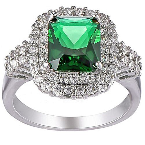 XAHH Women White Gold Plated Square Cut Emerald Green CZ Crystal Ring Best Promise Gift Jewelry for Her Anniversary Engagement Wedding Band Size 10 (Emerald Square Cut)