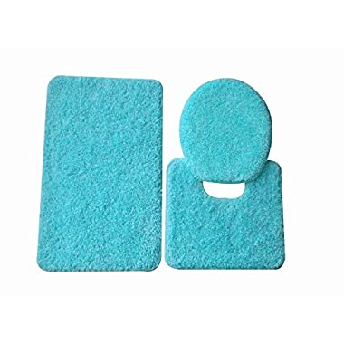 5th Avenue 3 Piece Bathroom Rug Set - Bath Mat, Contour, Cover (Turquoise)