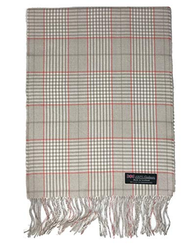 (2 PLY 100% Cashmere Scarf Elegant Collection Made in Scotland Wool Solid Plaid (ZS42 - Beige Pink))
