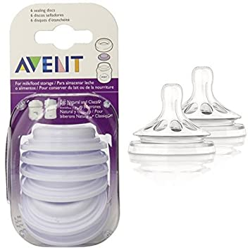 Amazon.com: Philips AVENT BPA Free Classic Bottle Sealing Discs and BPA Free Natural Fast Flow Nipples: Baby