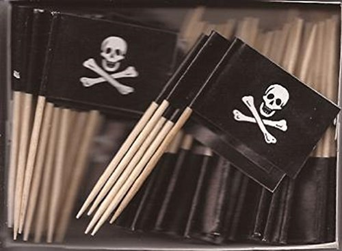 25 Box Wholesale Lot of Jolly Roger Toothpick Flags, 2500 Small Mini Skull and Crossbones Flag Cupcake Toothpicks or Cocktail Picks (Jolly Roger Toothpicks)