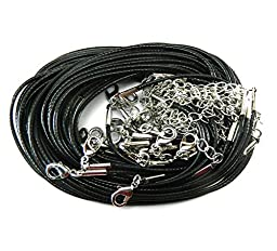 Rockin Beads Brand 20 Imitation Leather Cord Necklaces Black 18 Inch Lobster Claw Clasp