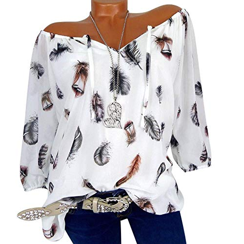 Shirt T Demi Pull Grande Chemisier V Plume Tops Femme Manches Imprimer Shirt Neck Blanc Taille LULIKA gdq7x6nUwU